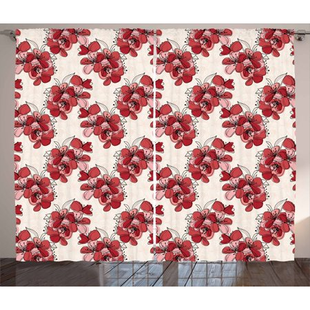 Floral Curtains 2 Panels Set, Japanese Culture Cherry Blossom Coming ...