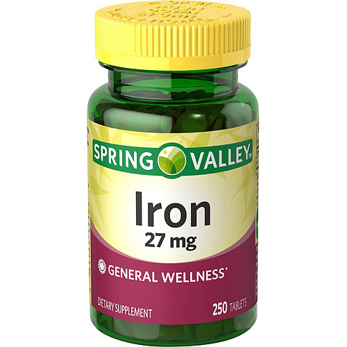 Spring Valley Iron Dietary Supplement Tablets, 27 mg, 250 count