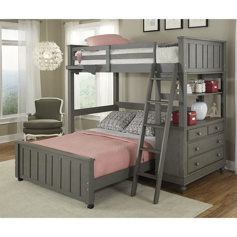 NE Kids Lake House Twin Bunk with Full Lower Bed and Shelf in Stone