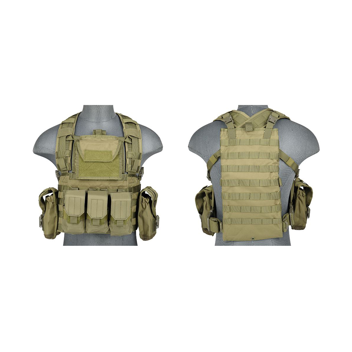 Lancer Tactical CA-307 Modular Chest Rig PALS MOLLE Vest and Hydration Pack Slot by Lancer Tactical
