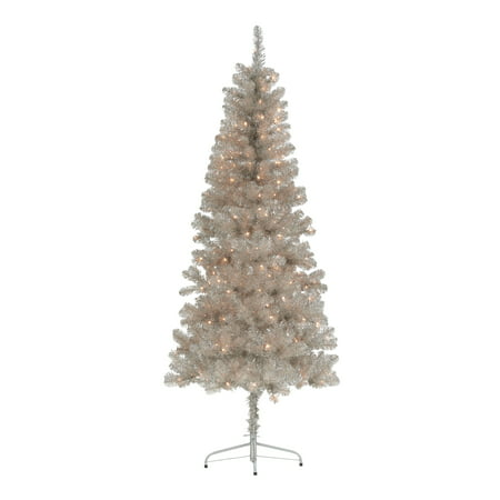 Holiday Time Pre-Lit Rose Gold Tinsel Christmas Tree, 6.5', Clear ()