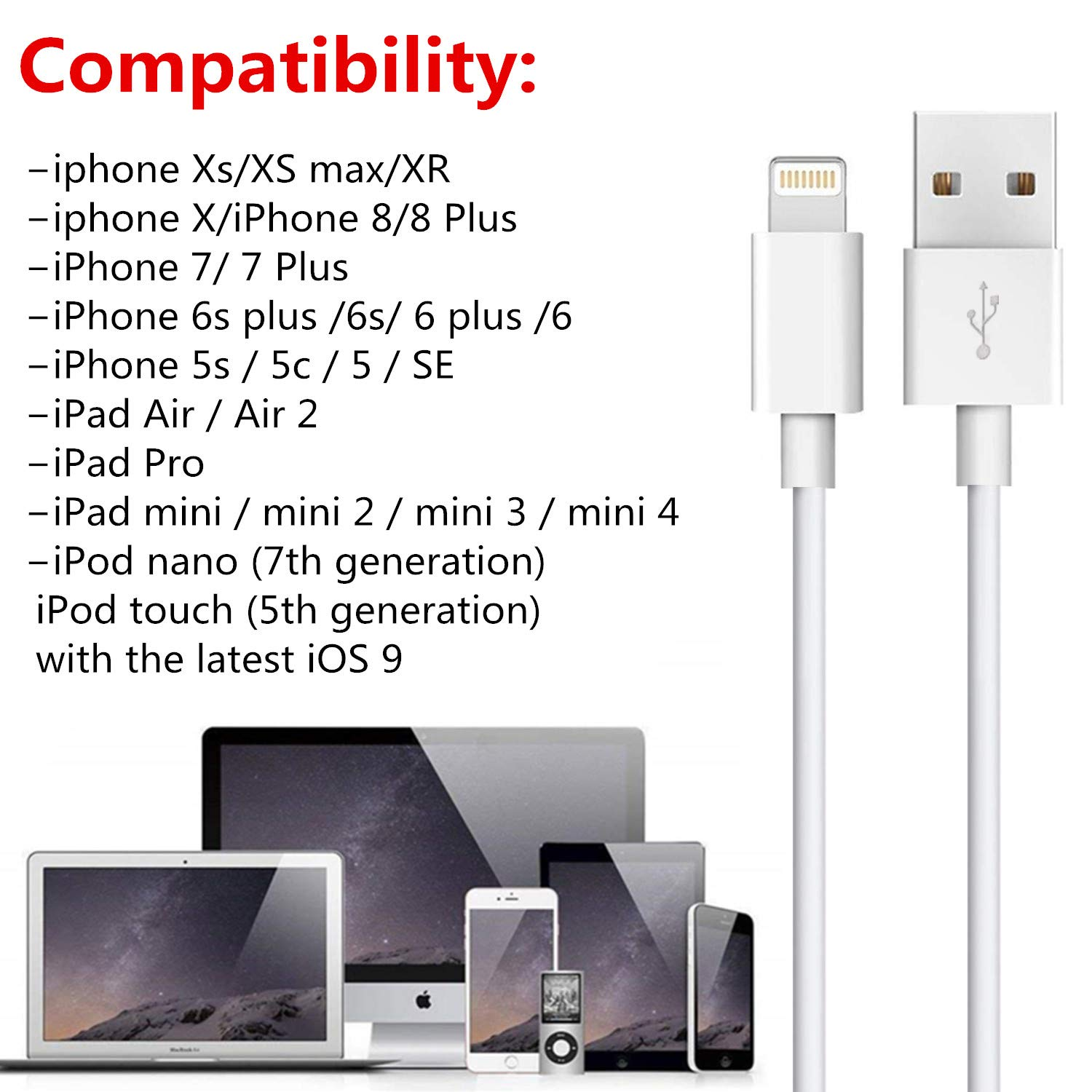 Certified Charging /& Syncing Cord Infinite Power iPhone Lightning Cable Set 3 Pack 6FT USB Cable for Apple iPhone Xs//Xs Max//XR//X//8//8 Plus//7//7 Plus//6S//6S Plus//Air//Mini//iPod Touch//Case