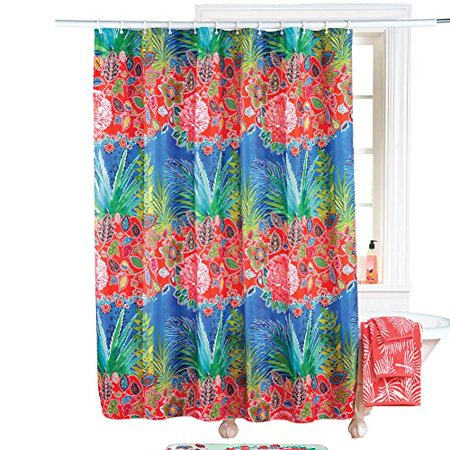 Collections Etc Tropical Island Flower Shower Curtain