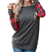 Women's Round Neck Checked Long Sleeve Sequin Pocket Sweatshirt