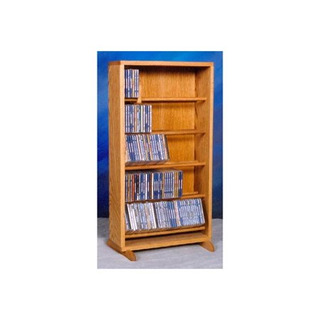 Dowel CD Storage Tower w Five Shelves (Honey Oak)