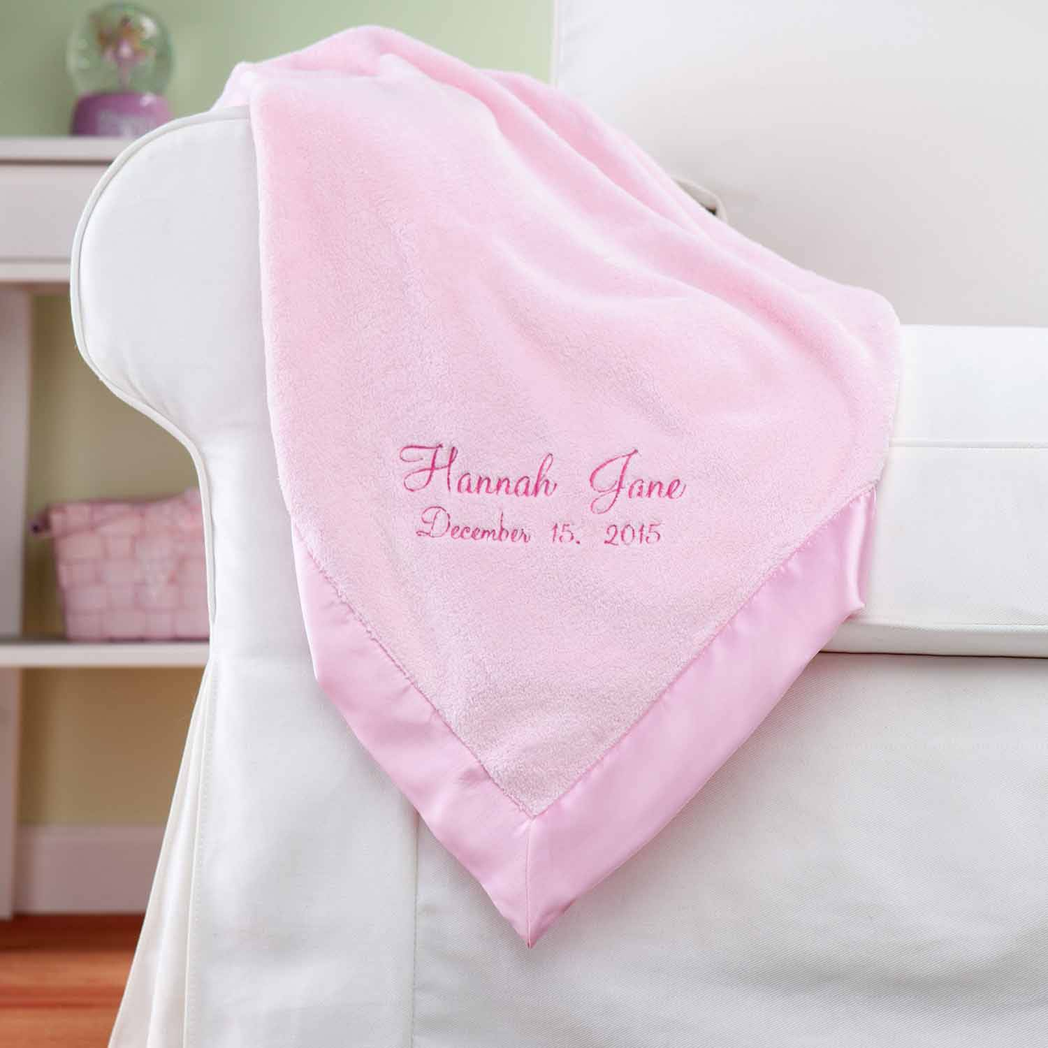 Personalized New Baby Pink Baby Blanket