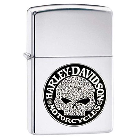 Zippo Lighter 28984 Harley Davidson Crystal Skull Chrome. ()