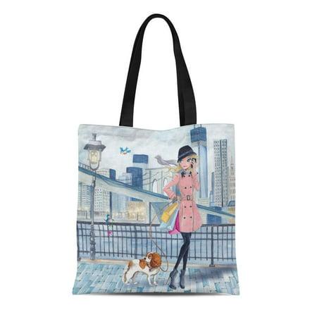 KDAGR Canvas Tote Bag Cartita in New York Girls Shopping Girly Cute Childrens Reusable Handbag Shoulder Grocery Shopping Bags - Childrens Shopping Bag