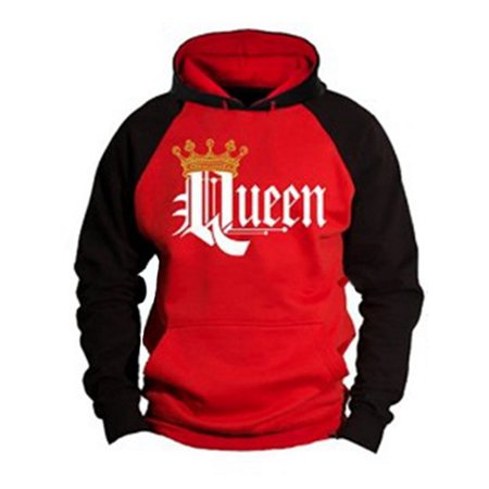 e50ec38f DYMADE Couple Matching King Queen Crown Two Tone Raglan Hoodie Pullover  Hooded Sweatshirt Size S-5XL