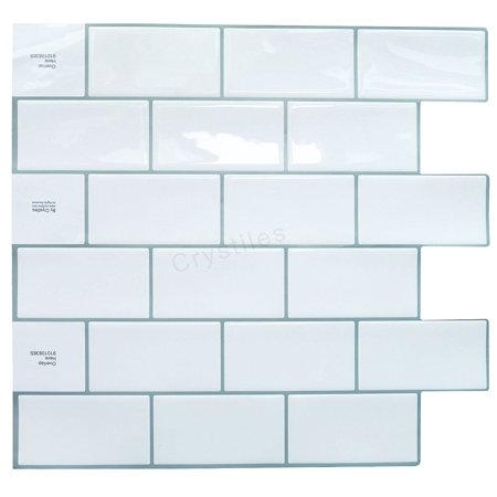 Tremendous Crystiles Peel And Stick Self Adhesive Stick On Vinyl Wall Tile Backsplash Item 91010838 Subway White 10 X 10 Each 4 Sheets Pack Home Remodeling Inspirations Basidirectenergyitoicom