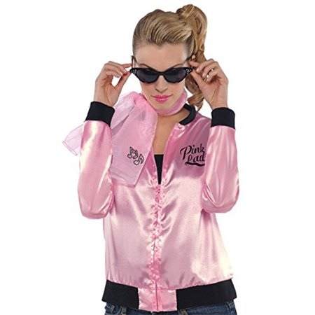 50S Pink Ladies Womens Adult Grease Costume Accessory Jacket-Plus (Women's Straight Jacket Costume)