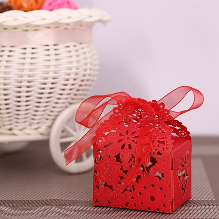 10PCS Delicate Carved Flower Elegant Candy Boxes with Ribbon for Party Birthday Wedding Banquet Kindergarten Bridal Shower--Red