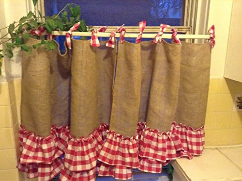 Handmade Tie Up Valance Window Treatment (Valance) (Burlap cafe style with 2 tiers of pink gingham) by KM Curtains