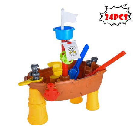 BEAD BEE Children Summer Beach Toy Large Baby Play Water Digging Sandglass Pirate Ship (Bucky Pirate Ship)