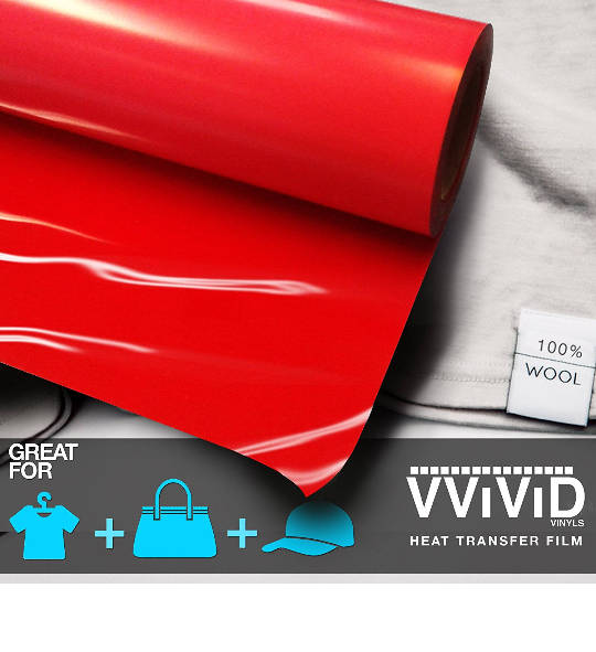 "Heat Transfer Vinyl Roll Red Iron On Letters HTV Shirt Decal 12"" x 3ft (36"") Iron On Vinyl Transfer Custom Roll VViViD"