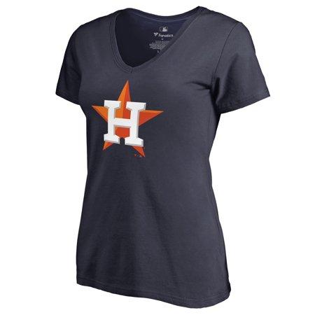 Houston Astros Women's Team Color Primary Logo V-Neck T-Shirt - (Houston Astros Team Logo Ball)