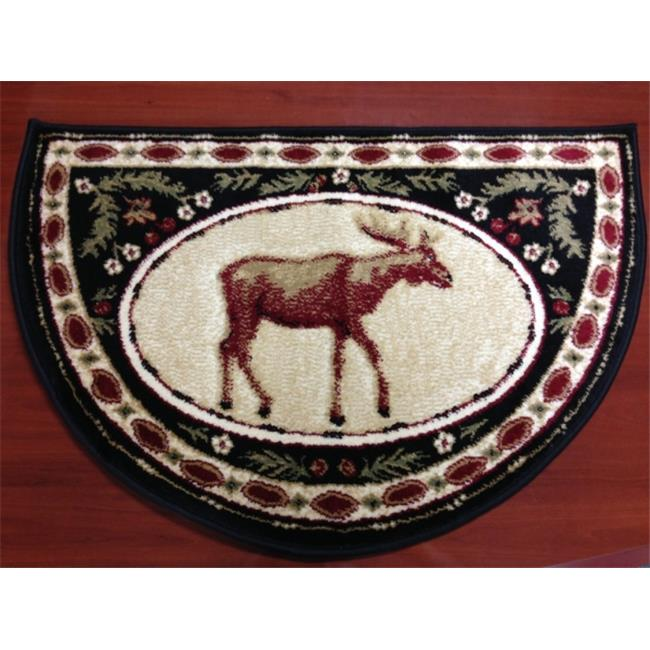 IMS 28625620872640 Hearth Rug Wild Life Moose Design Lodge Cabin Fireplace, Green Red - 2 x 3 ft.