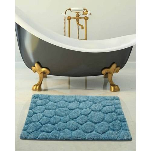Saffron Fabs Bath Rug 2-Piece Set, Solid Color Pebbles Stones Pattern, Assorted Colors and Sizes