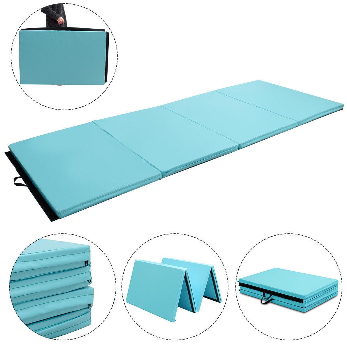 4'x10'x2'' Gymnastics Mat Thick Folding Panel Aerobics Exercise Gym Fitness Blue