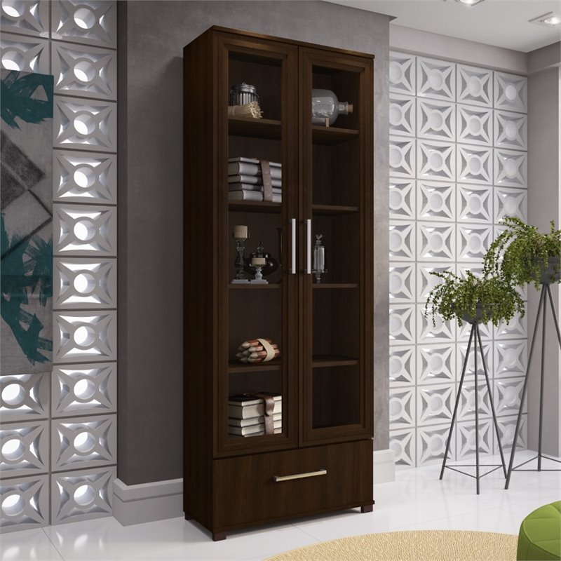 Manhattan Comfort Serra 5 Shelf Curio Cabinet in Tobacco