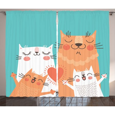 Kids  Curtains 2 Panels Set  Cute Kitten Couple Sweet Happy Paws Loving Heart With Family Cats Poster Style Animal Art Theme  Living Room Bedroom Decor  Multi  By Ambesonne