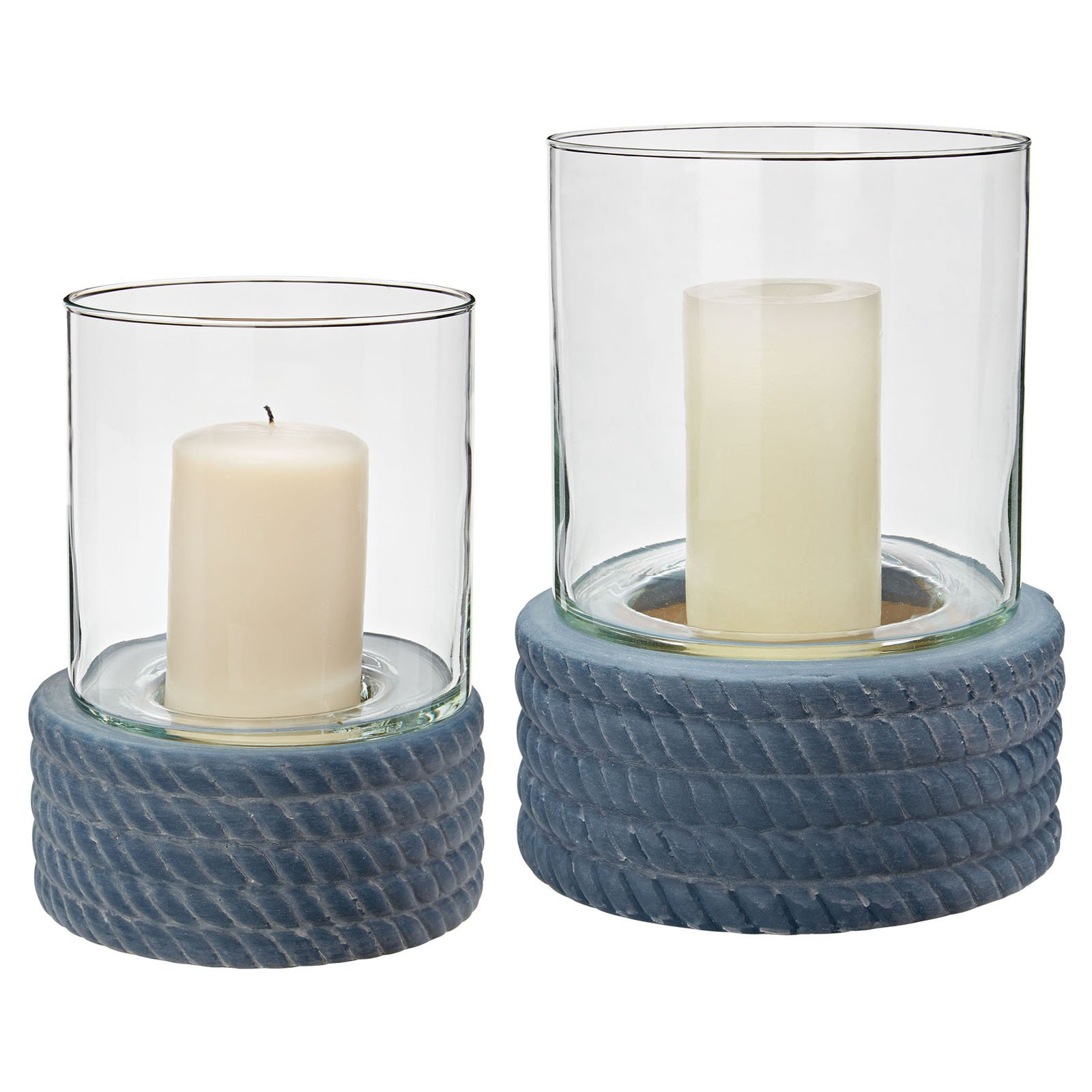 Dimond Home Coiled Rope Hurricanes Candle Holder