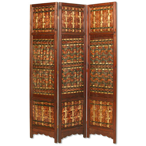 Screen Gems 71'' x 55'' Palm Brass 3 Panel Room Divider