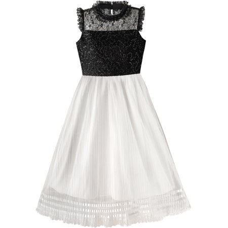 Girls Dress White And Black Pleated Skirt Lace Sequin 6 - Black And White Dresses Girls