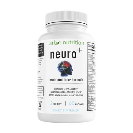 Arbor Nutrition Neuro Plus Memory and Focus Formula - Boost focus, Improve brain health, energy & mood booster for men and women.  DHA, DMAE, L glutamine, folic acid, vitamin d supplement . 60 Caps