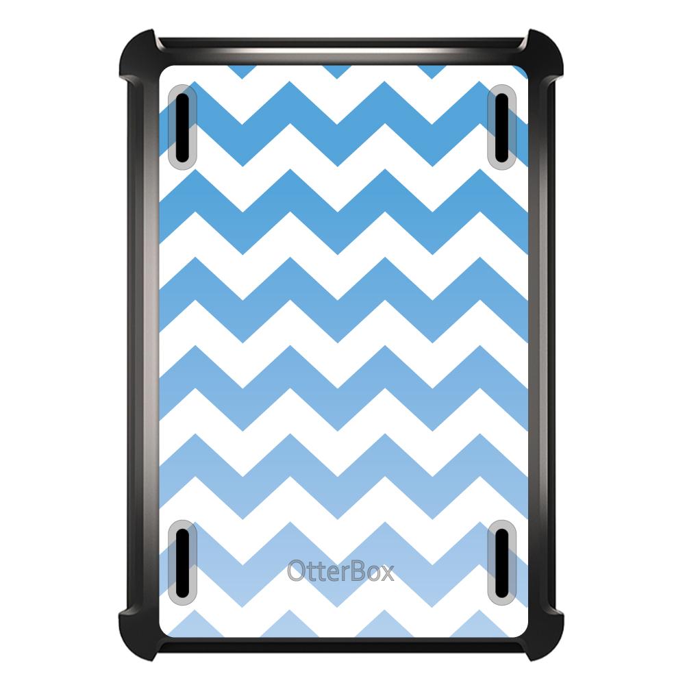 CUSTOM Black OtterBox Defender Series Case for Apple iPad Mini 1 / 2 / 3 - White Blue Fade Chevron Stripes