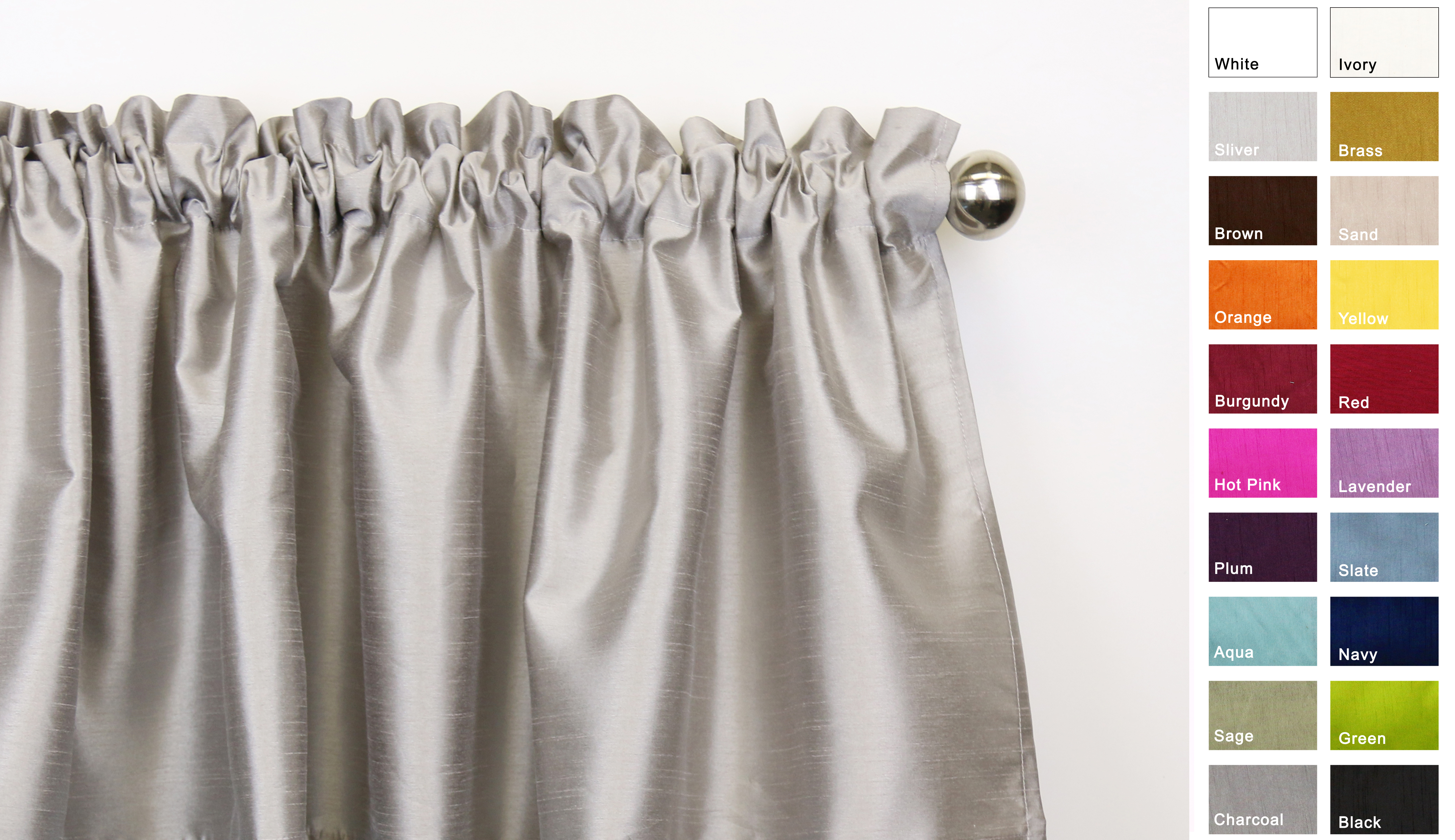 Aiking Home Solid Faux Silk Window Treatment   Curtain   Panel, Silver-Size 56''x63'' by Aiking Home Collection