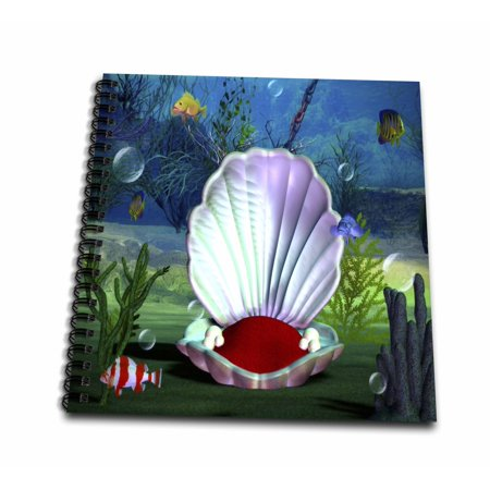 3dRose Image of Sea life Clam Shell And Fish - Memory Book, 12 by 12-inch