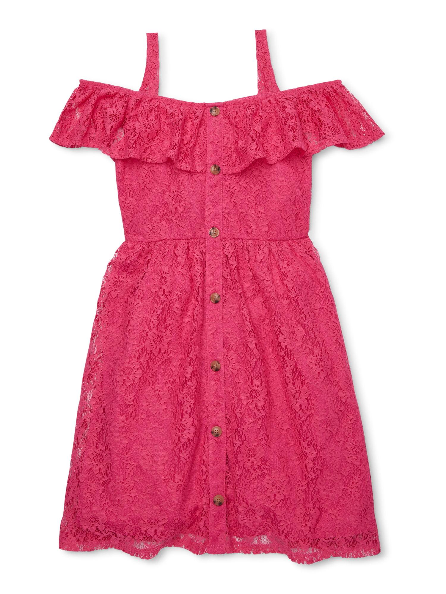 Mignone Grey Pink Girls Longsleeve Dress Ruffle Skirt Lace Sz 2T 3T 4T 5 6 7 8