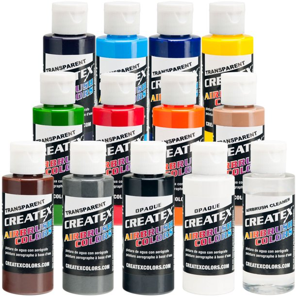 Createx 12 COLOR SET Transparent Airbrush Paint Colors