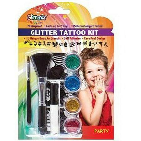 glimmer body art kids glitter temporary tattoo kit