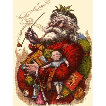 Santa Holds Armful of Toys, 1880 Vintage Antique Santa Claus Print Wall Art By Thomas Nast
