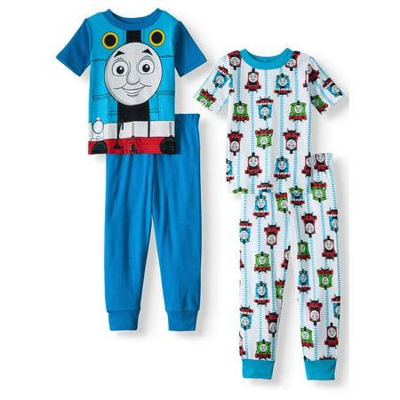 Toddler Boys' Cotton Tight Fit Pajamas, 4-Piece Set - Toddler Train Pajamas