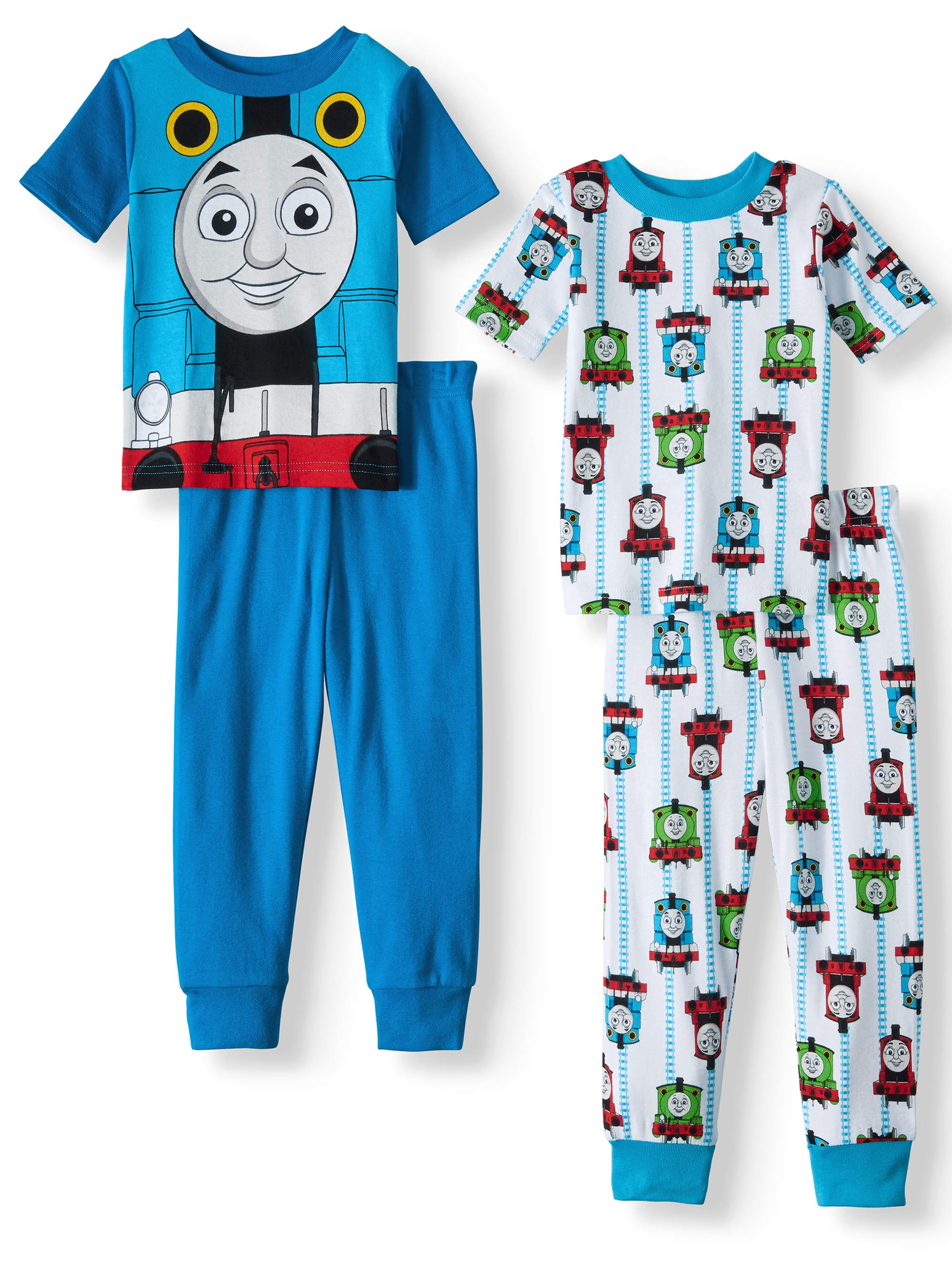Toddler Boys' Cotton Tight Fit Pajamas, 4-Piece Set