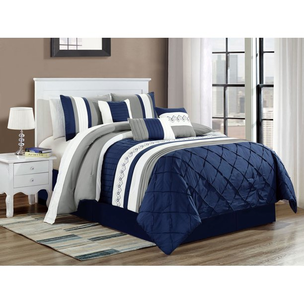 7 pc riya diamond meander greek key pleated stripe comforter set navy blue white gray queen