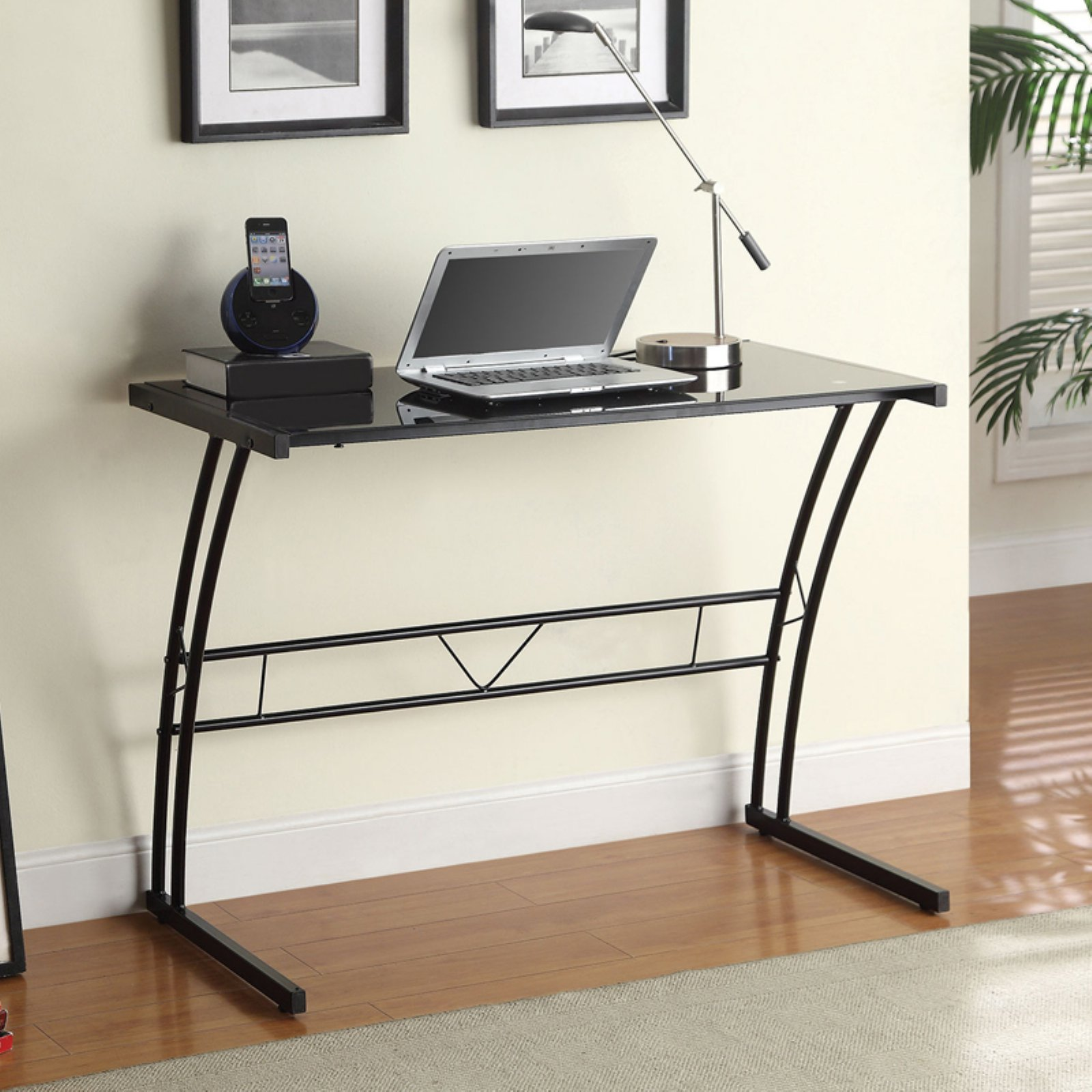 Coaster Furniture Writing Desk with Black Glass Top