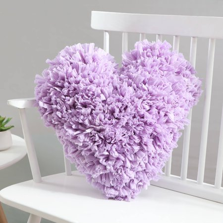 VCNY Home Calista Heart Paper Shag Decorative Pillow, 18 x 18, Lavender ()
