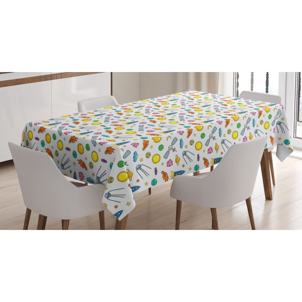 Spaceship Tablecloth An Assortment Of Space Related Concepts Shooting Star Ufo Sun Moon And Stars Rectangular Table Cover For Dining Room Kitchen 60 X 90 Inches Multicolor By Ambesonne Walmart Com Walmart Com