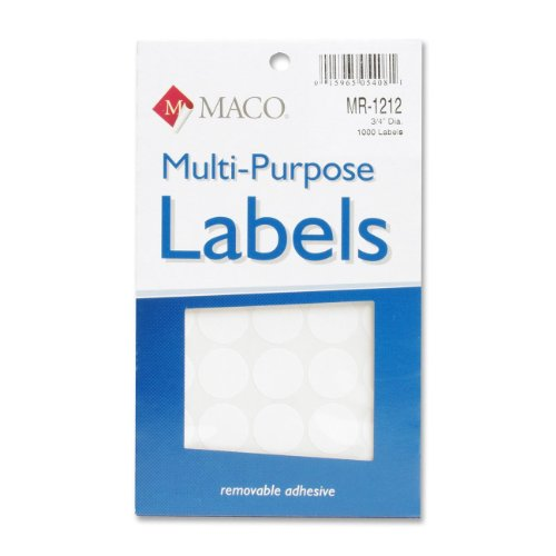 Maco Mr-1212 Color Coding Labels - Removable - 1000 / Pack - White (mr1212)