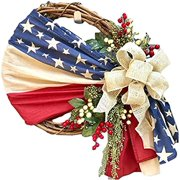 Colofity American Wreath, Handcrafted 4th of July Patriotic Sunflower Shape Wreath for Front Door Decor