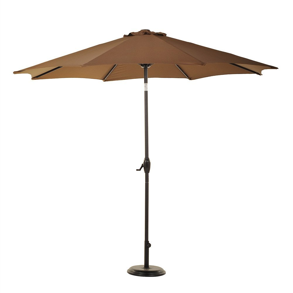 Grand Patio 9' Outdoor Aluminum Market Umbrella with Auto Tilt and Crank, 8 Ribs, Brown by Grand Patio