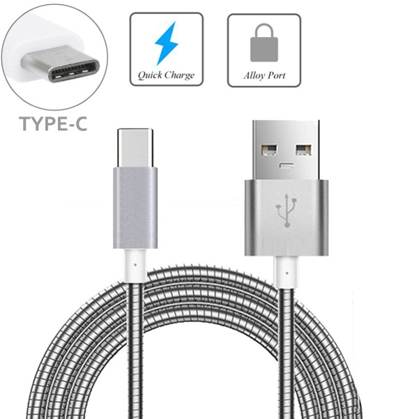 Verizon Samsung Galaxy S9 Metal Braided Type-C USB Cable Charging Power Sync Wire 6ft Long USB-C Data Cord [Silver] A7O
