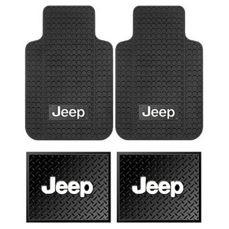 Envoy Custom Floor Mats Rear - Jeep Logo Car Truck SUV Front & Rear Seat Rubber Floor Mats - 4PC