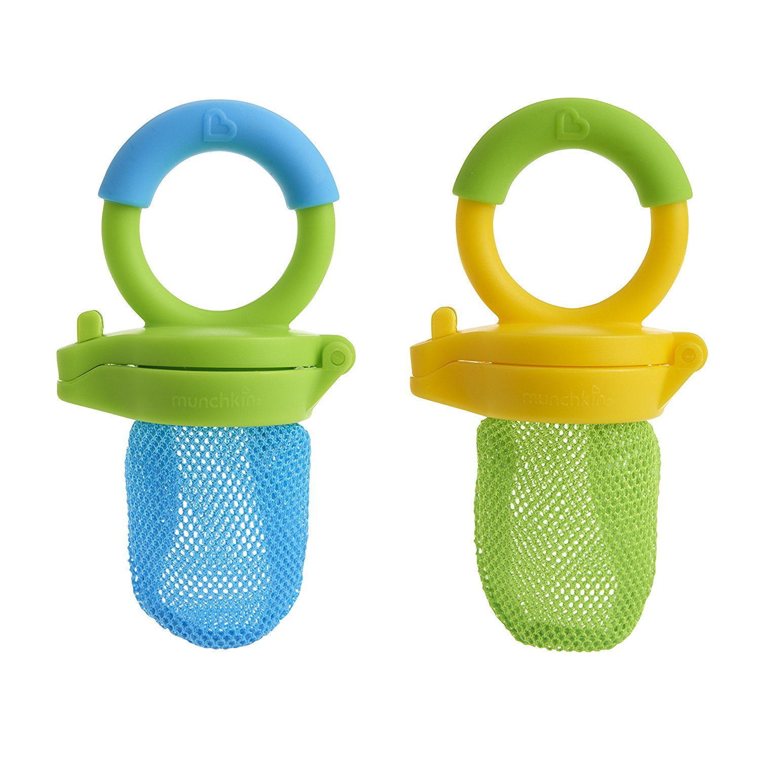 Fresh Food Feeder, 2 Pack, Blue/Green, Feeder helps reduce the risk of choking - only small pieces of digestible food get through By Munchkin