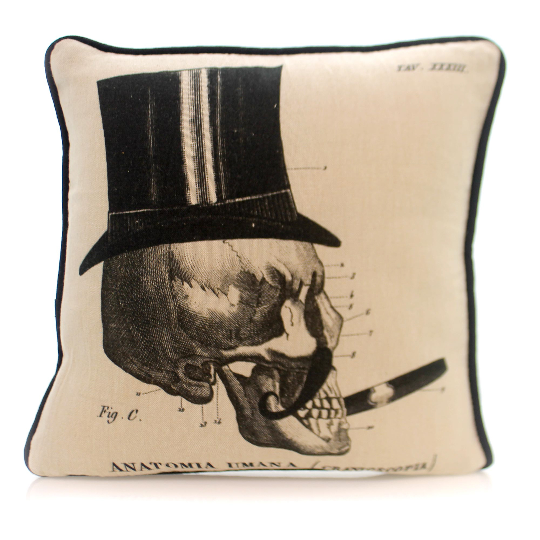 Home Decor ANATOMIA UMANA PILLOW Fabric Halloween Skull Z5555 Cigar by