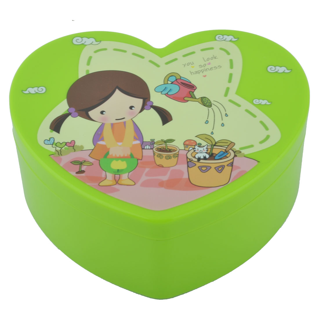 Lady Plastic Heart Shape Cosmetic Organizer Makeup Jewelry Storage Box Green